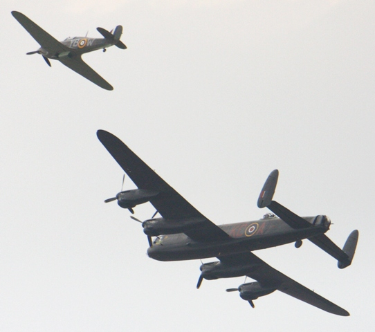 Hurricane and Lancaster Bomber